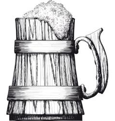 Wooden mug of beer vector image