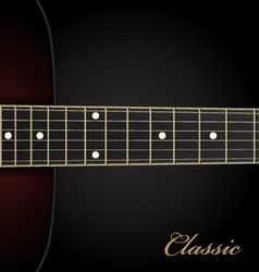 Classical acoustic guitar on black background vector image