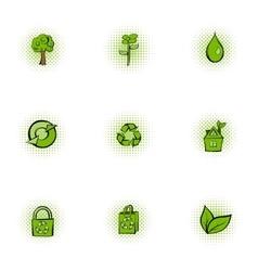 Natural environment icons set pop-art style vector