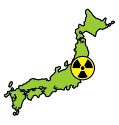 radiation sign on Japanese map vector image