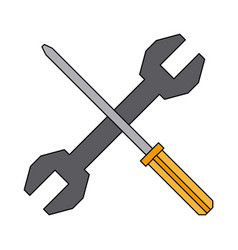 screwdriver and spanner tool support repair vector image vector image