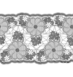 Seamless lace tape Grid and floral elements vector image