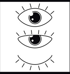 eyes icon set collection look and vision vector image