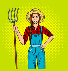 girl farmer with pitchfork pop art vector image