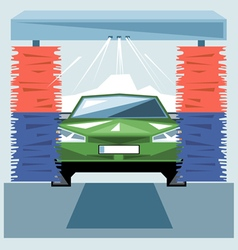 Green car wash at station with jet of water vector image vector image