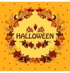 Halloween autumn card with a wreath of leaves vector