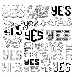 Handwritten Yes Phrases Words with vector image