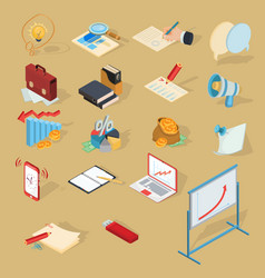 set of isometric business icons vector image vector image