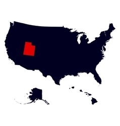 Utah State in the United States map vector image vector image