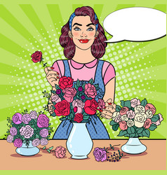 woman florist making bunch of flowers pop art vector image vector image