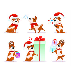 xmas flat puppy emoji collection vector image vector image