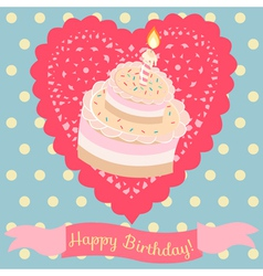 Birthday cake and lace heart vector image vector image