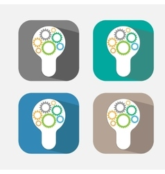 Electric bulb icon Lamp with cogwheel sign vector image