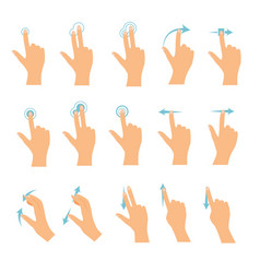 hand icons showing commonly used multi-touch vector image vector image