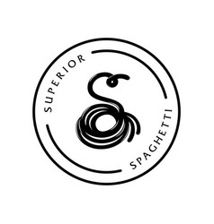 superior spaghetti logo with s letter design on vector image