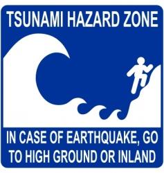 tsunami hazard zone sign vector image vector image