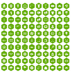 100 tennis icons hexagon green vector