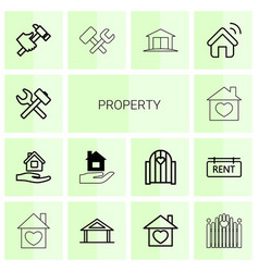 14 property icons vector image