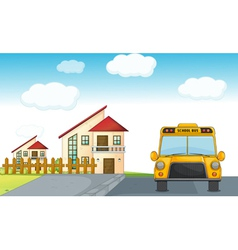 a school bus and building vector image