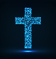 Abstract cross of glowing particles symbol vector