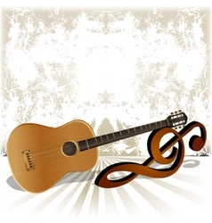 Acoustic guitar rests on the treble clef vector
