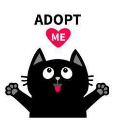 adopt me dont buy red heart black cat face head vector image