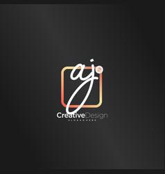 Aj initial letter handwriting logo art hand drawn vector