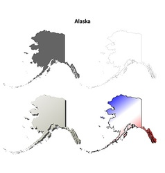 Alaska outline map set vector image