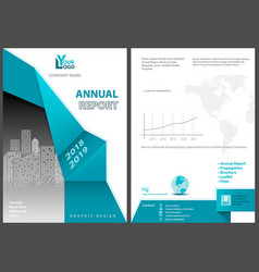 annual report template with geometric element vector image