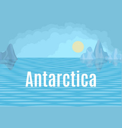 Antarctica drawing landscape with sea and floes vector