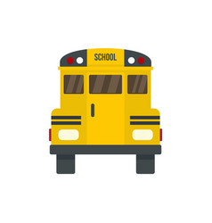 Back of old school bus icon flat style vector