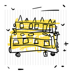 back to school concept cute sketch of school bus vector image