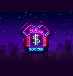 betting soccer neon sign football logo vector image