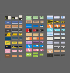 Big set of colorful sneakers boxes on white vector
