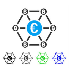 Bitcoin euro net structure flat icon vector