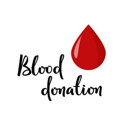 Blood donation hand lettering simple vector