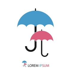 Blue and pink umbrellas as logo vector