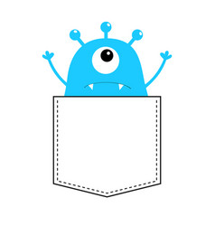 Blue monster silhouette in the pocket hands up vector