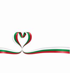 Bulgarian flag heart-shaped ribbon vector