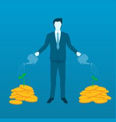 businessman watering money tree to grow finance vector image