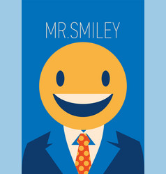 Businessman with a smiley face instead of his head vector