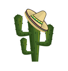 cactus with mexican hat with thorns vector image