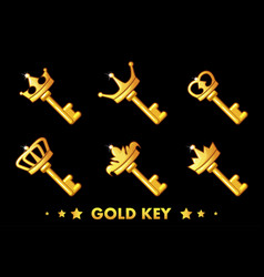 cartoon golden key with crown vector image
