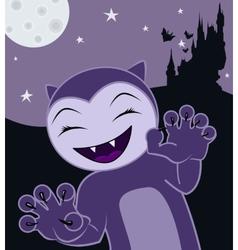 Cartoon Halloween cat on a night background vector image