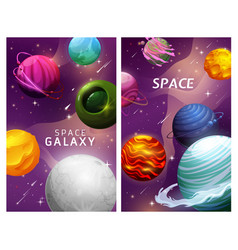 Cartoon space planets and stars landscape galaxy vector