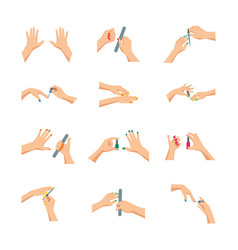 cartoon woman hands doing manicure sign icon set vector image