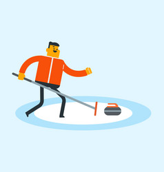 Caucasian sportsman playing curling on ice rink vector