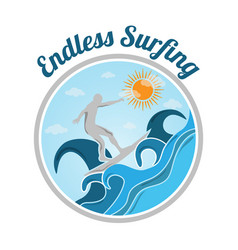 colored endless surfing vector image
