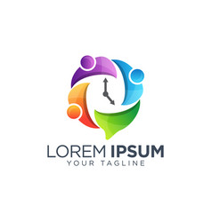 colorful time management company logo design vector image
