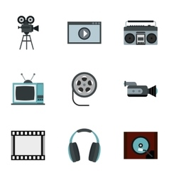 Communication device icons set flat style vector